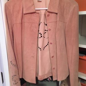100% leather (suede ) salmon color jacket
